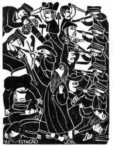"""Cadre qui utilise la technique de la peinture typique du nord-est du Brésil, connue sous le nom """"Xilogravura"""" qui met en scène la Guerre de Canudos"""