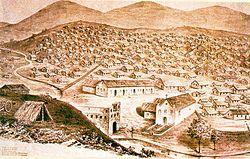 Dessin représentant le Canudos village à l'époque de la guerre