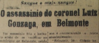 Reportage sur la mort du colonel Gonzaga - Jornal do Commercio, Recife, Pernambuco, Octobre 21, 1922