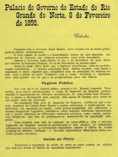 Como o então governador Adolfo Affonso da Silva Gordo viu a higiene no centro de Natal