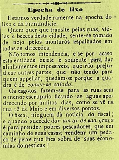 Os problemas do lixo em Natal em 1895