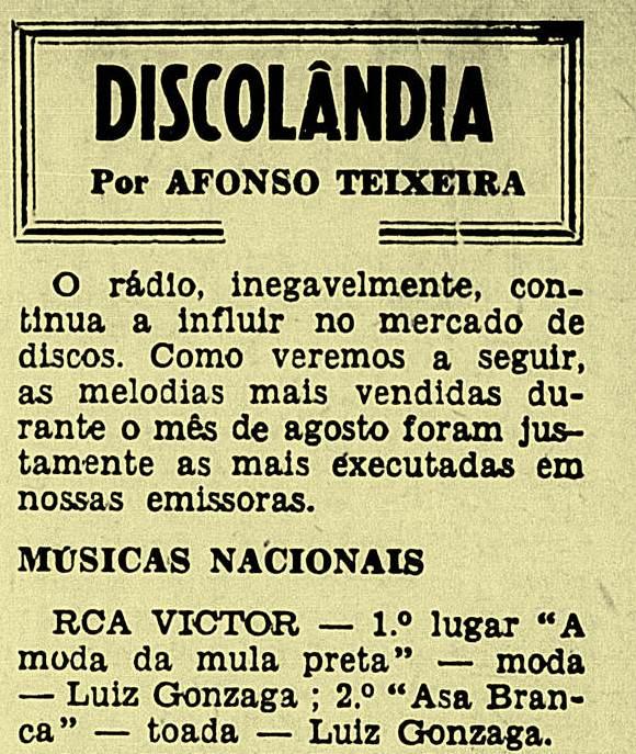 """Outubro de 1948. A conceituda """"Revista do Rádio"""", aponta Luiz Gonzaga, artista da RCA Victor, emplacando os primeiros lugares da venda de discos"""