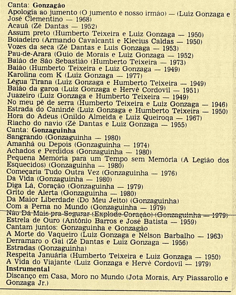 RElação das músicas e sequência como elas foram cantadas no show de Gonzagão & Gozaguinha no Rio de Janeiro - Jornal do Brasil - Caderno B - 13-01-1982,