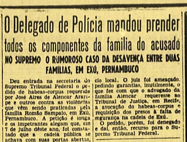 """A luta em Exu, entre as famílias Alencar e Sampaio, repercutia fortemente no Rio de Janeiro em 1949. Jornal carioca """"A Manhã"""", 06-11-1949."""