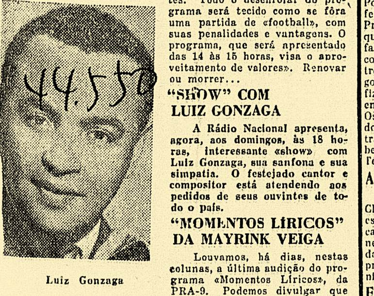 """Gonzaga chamando atenção nos jornais cariocas, como nesta edição de 12-03-1948, do jornal """"A Noite"""""""
