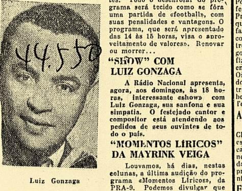 Gonzaga chamando atenção nos jornais cariocas, como nesta edição de 12-03-1948, do jornal