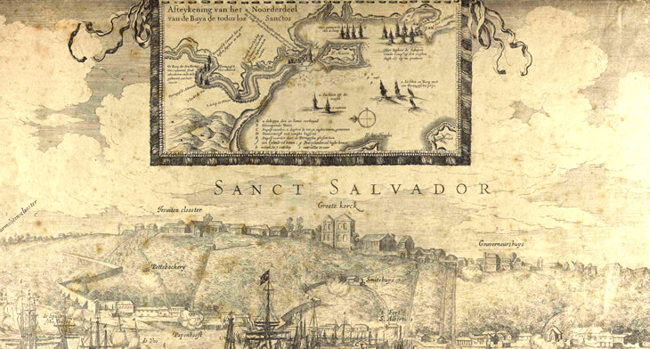 Gravura da cidade de Salvador feita no século XVII por Hessel Gerritsz - Fonte - http://www.revistadehistoria.com.br/secao/artigos-revista/memoria-em-apuros
