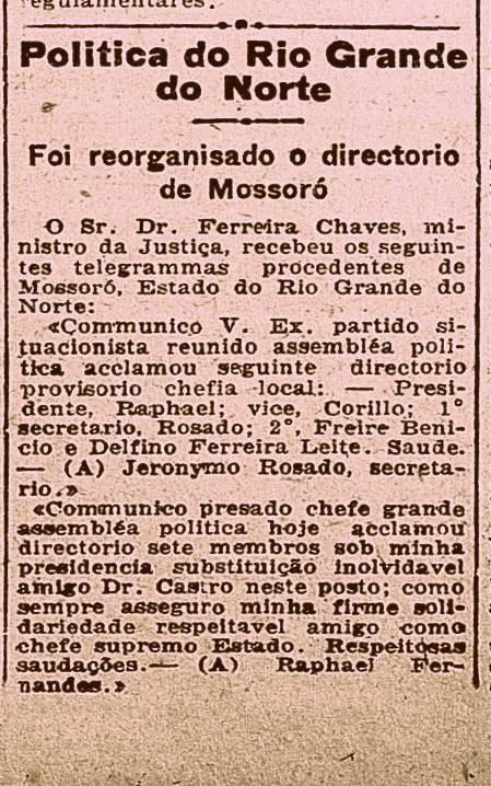 Nota do jornal carioca Gazeta de Notícias, 1 de julho de 1922, mostrando a atuação política de Jerônimo Rosado