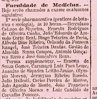 Nesta mota do jornal carioca Gazeta de Notícias, de 19 de janeiro de 1887, vemos o jovem Jerônimo como estudante no Rio de Janeiro