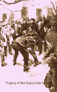 Luta entre Ellison Hatfield  e os irmãos McCoy no dia da eleição