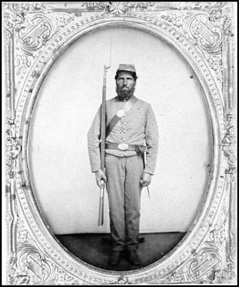 Porta retrato com um soldado Confederado