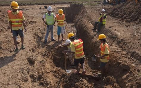 Outro ângulo das escavações.