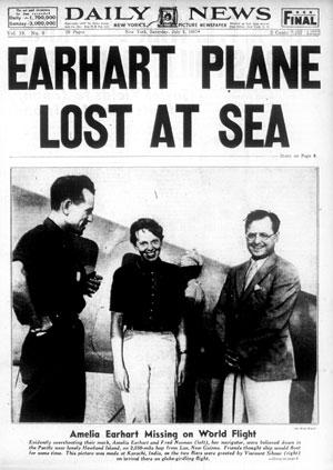 Desaparecimento de Amélia e Noonan em jornal americano