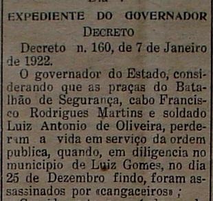 Decreto nº. 160, de 7 de janeiro de 1922