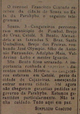 Informe de Simplício Cascudo sobre ataque de cangaceiros na Paraíba e publicado em Natal