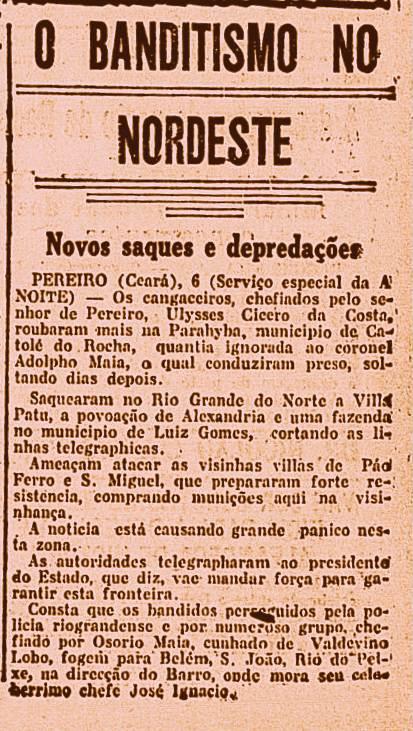 Jornal carioca A Noite, pág. 4, de 6 de março de 1922