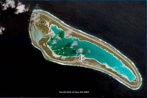 Foto de satélite do Atol de Nikumaroro