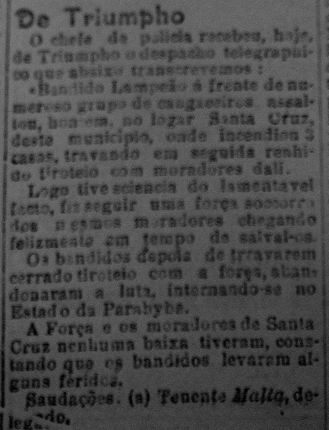 """Edição do jornal recifense """"A Notícia"""", de 14 de janeiro de 1924, existente na hemeroteca do Arquivo Público do Estado de Pernambuco, informando erroneamente sobre a ação da polícia, durante o segundo ataque de Lampião contra Quelé."""