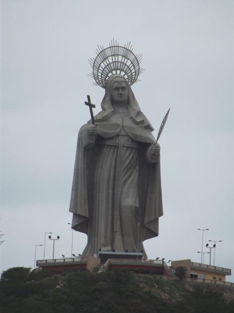Início da minha viagem, passando por Santa Cruz-RN e a grande estátua da padroeira da cidade