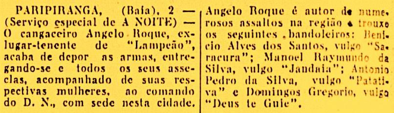 """Notícia do jornal carioca """"A Noite"""", reproduzida na imprensa potiguar, apontando a detenção de Ângelo Roque e seus bando, em abril de 1940"""