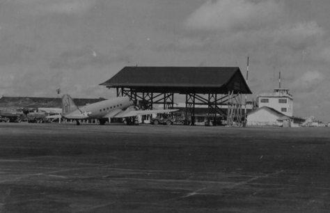 Hangar de nariz da base de Parnamirim, ou Parnamirim Fiel, durante a Segunda Guerra Mundial - Fonte - NARA