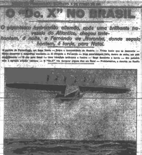 Jornal pernambucano informando a chegada do DO X
