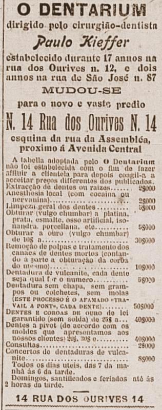 Interessante lista de preços de atendimento odontológico no início do séc. XX, A cocaína era anestésico.