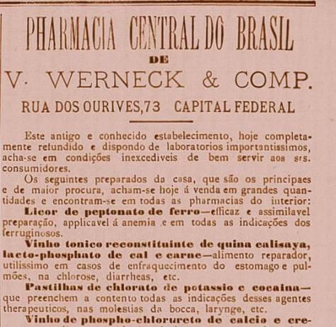 Pastilhas de cocaína vendidas no Rio em 1890