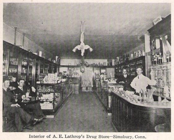 Típica farmácia, ou drogaria, nos Estados Unidos em 1905. No Brasil elas não eram muito diferentes - Fonte - Wikipédia.org