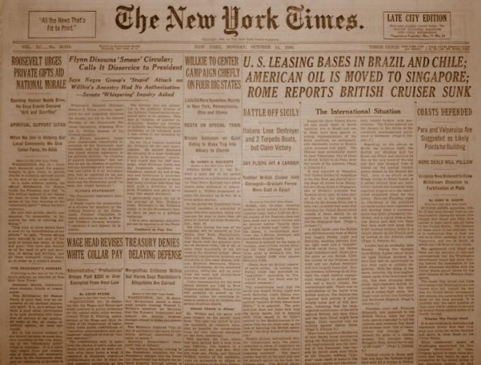 Natal no The New York Times, 14 de outubro de 1940, já falando do empréstimo das bases aéreas no Brasil.