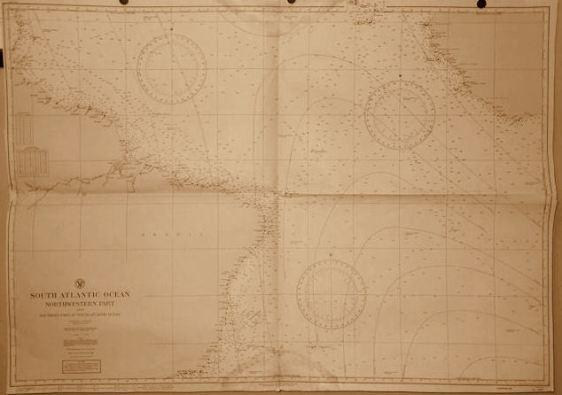 Mapa de navegação aérea da região do Atlântico Sul. esta travessia aérea, antes dos satélites e do GPS era algo que deixava os aviadores estadunidenses apreensivos