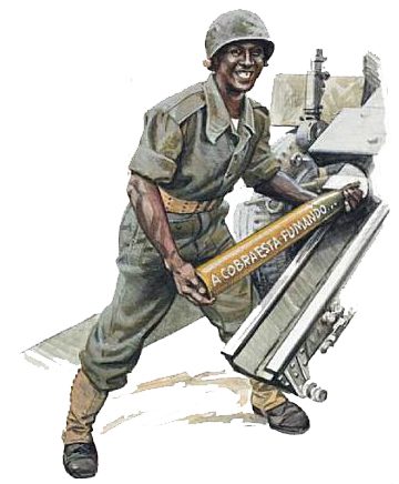 Desenho representativo de um soldado brasileiro da FEB na Itália 1944/1945 - Fonte - http://fabwiki.blogspot.com.br/2012/07/uniforme-exercito-brasileiro.html