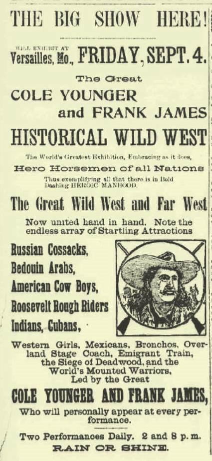 Propaganda de um show onde as atrações principais eram Frank James e seu primo Cole Younger