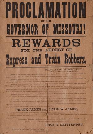 Cartaz origina oferecendo uma recompensa pelos irmãos James