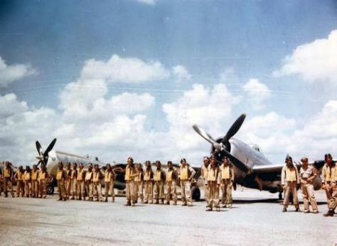 """O chamado """"Escuadrón de Pelea 201"""" com o qual os aviadores mexicanos combateram durante a Segunda Guerra Mundial.  A unidade voou mais de 95 missões de combate, totalizando mais de 1.900 horas de voo. Os mexicanos participaram do esforço aliado para bombardear Luzon e Formosa, durante a expulsão dos japoneses daquelas ilhas. Durante sua luta nas Filipinas, cinco pilotos do esquadrão morreram."""