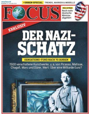 Capa da revista alemã Focus sobre a descoberta das obras de arte mantidas. Grande trabalho jornalistico.