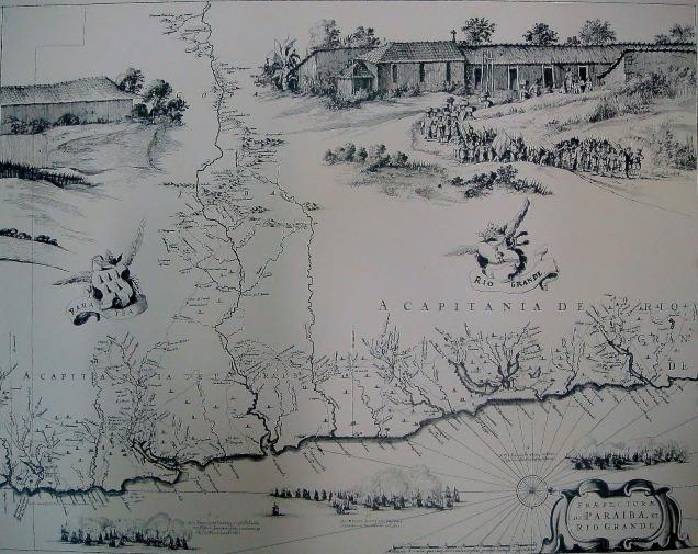 mapa que mostra a costa paraibana e potiguar durante a ocupação holandesa. Na base do quadro vemos reproduções dos combates navais.