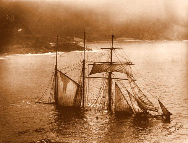A barca Mildred, que encalhou em 1912