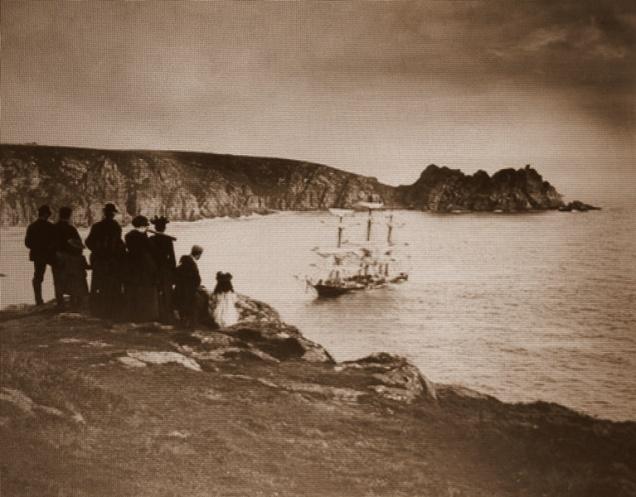 O estado do Granite destruído em Porthcurno em 1895