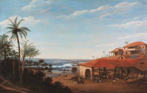 Um engenho de açucar tocado por escravos negros, a casa grande do dono das terras e uma capela, cenário típico do Nordeste do Brasil holandês.