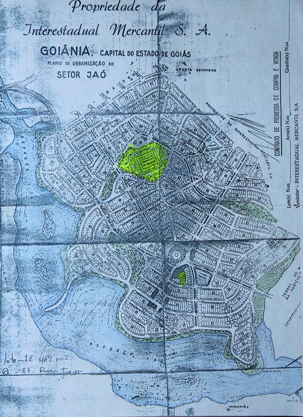 Mapa de Goiânia, mostrando a área onde os alemães trabalharam
