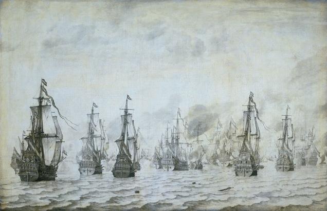 Zeeslag_bij_Duinkerken_18_februari_1639_(Willem_van_de_Velde_I,_1659)