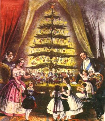 848, em Inglaterra, uma ilustração com a família real inglesa em Windsor, junto  à árvore de Natal, é publicada no Illustrated London News - Fonte - http://relvateresa.blogspot.com.br/2011/12/arvore-de-natal.html