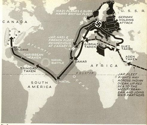 Mapa da revista Life que mostra Natal em uma das possíveis rotas de invasão dos Estados Unidos pelas forças do Eixo