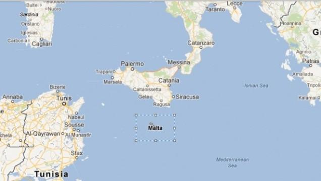 Posição estratégica de Malta na área do Mediterrâneo
