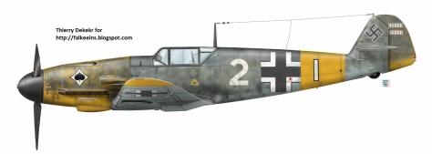 Ilustração do artista Thierry Dekekr de um Messerschmitt Bf 109 também conhecido como Me 109, do Jagdgeschwader 53