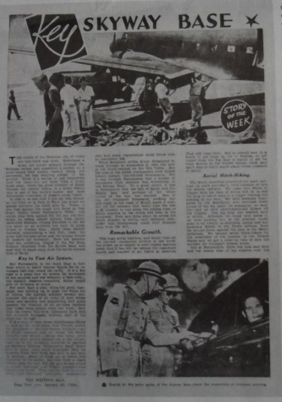 "Reportagem publicada na revista australiana ""Western Mail"", sobre Parnamirim Field."