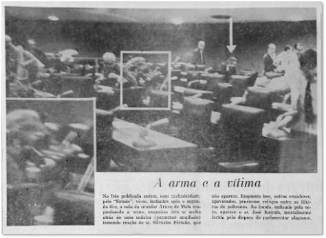 No dia seguinte aos tiros, o jornal detalhou que o senador Silvestre também sacou sua arma.  Indicado pela seta, o senador Kaiala, a vítima fatal do conflito