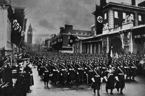 Capa do romance SS-GB, de Len Deighton, que mostra Londres ocupada pelos nazistas. Na foto Hitler acompanha um desfile da tropa SS, tendo o Big Ben ao fundo