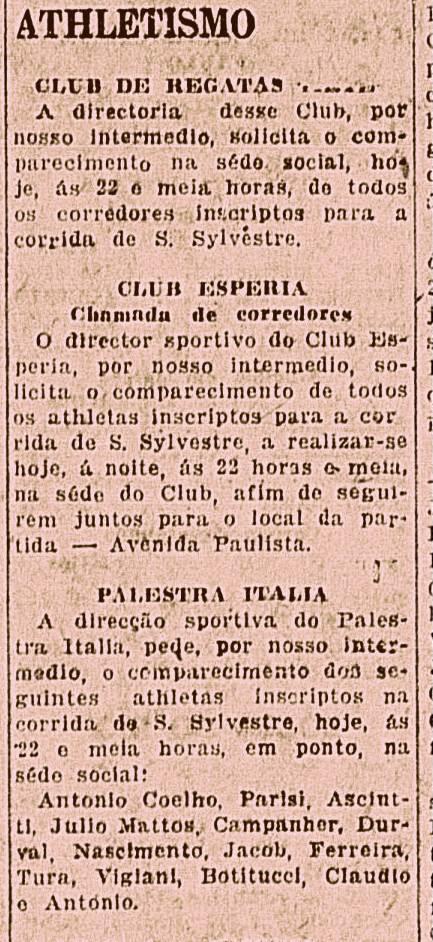 Convocacao feita por clubes em jornais paulistanos da decada de 1920, para seus filiados participarem da Corrida de Sào Silvestre